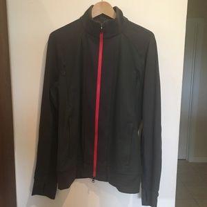 Lululemon Men's Grey Jacket M 4 pocket, red zipper